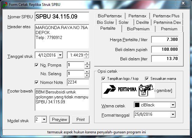 Software Cetak STRUK SPBU « Bocah Genius